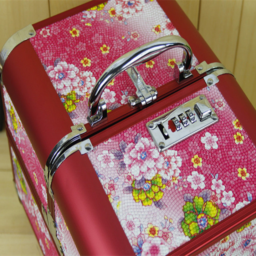 Large Capacity Makeup Organizer,Women Travel Jewelry Storage Box Container Bag Case,Portable Cosmetic Printing Make Up Suitcase mengxilu pu leather cosmetics bag large capacity pattern storage box make up makeup box women ladies cosmetic vanity case box