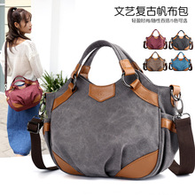 The new canvas bag retro fashion Joker Arts College students shoulder slung portable womens cloth