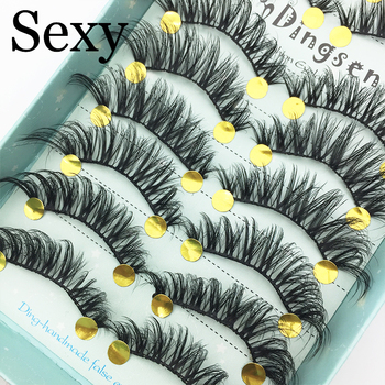 10 Pairs Handmade 3D Soft Faux Mink Hair False Eyelashes Crisscross Wispy Fluffy Lashes Extension Eye Makeup Tools #3D-71