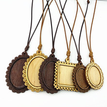 Jiangzimei 24pcs Wood pendant settings18*25mm 25X30mm 30*40mm Ellipse Leaf wooden base with leather cord for necklace making