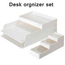 Deli NS001 Desk organizer set File Cabinet documents box Multi-storey desktop office stationery stationery collection set