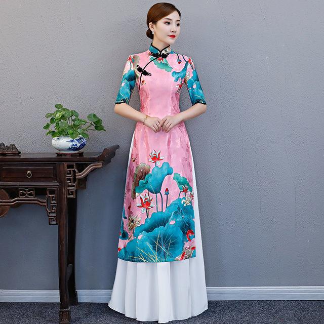 Chinese Elegant Floral Print Cheongsam/Qipao Retro Mandarin Collar Aodai Dress