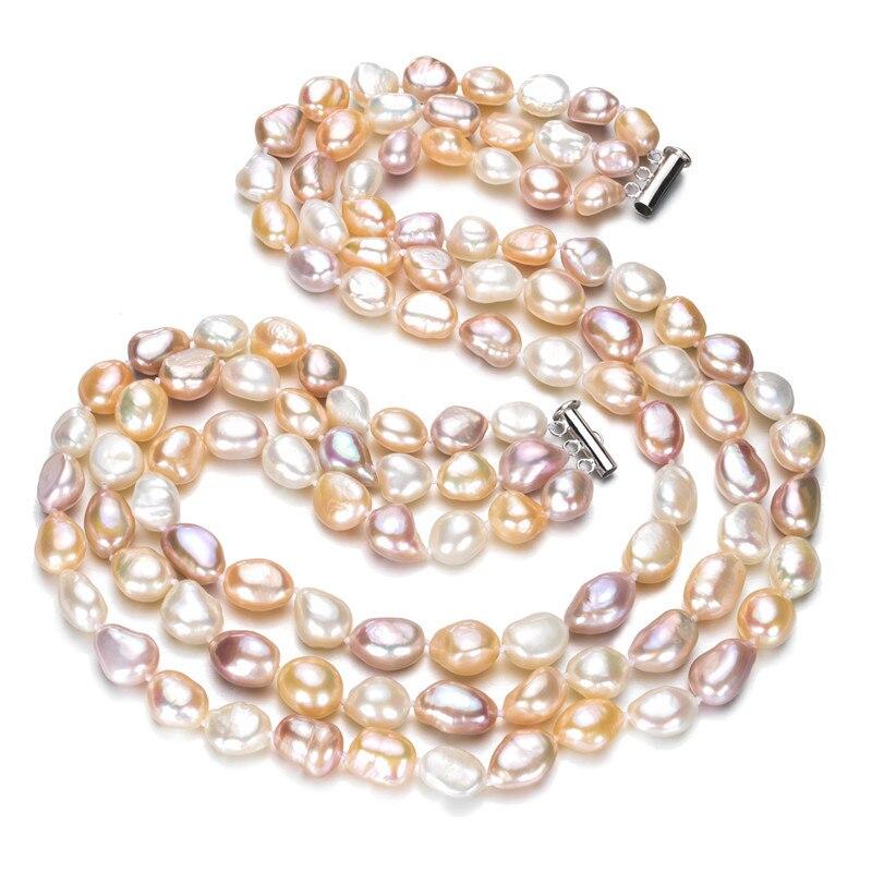 SNH 9-10mm baroque AA 100% naturel réel mélangé couleur collier de perles d'eau douce bijoux chaîne collier de perles de mariage