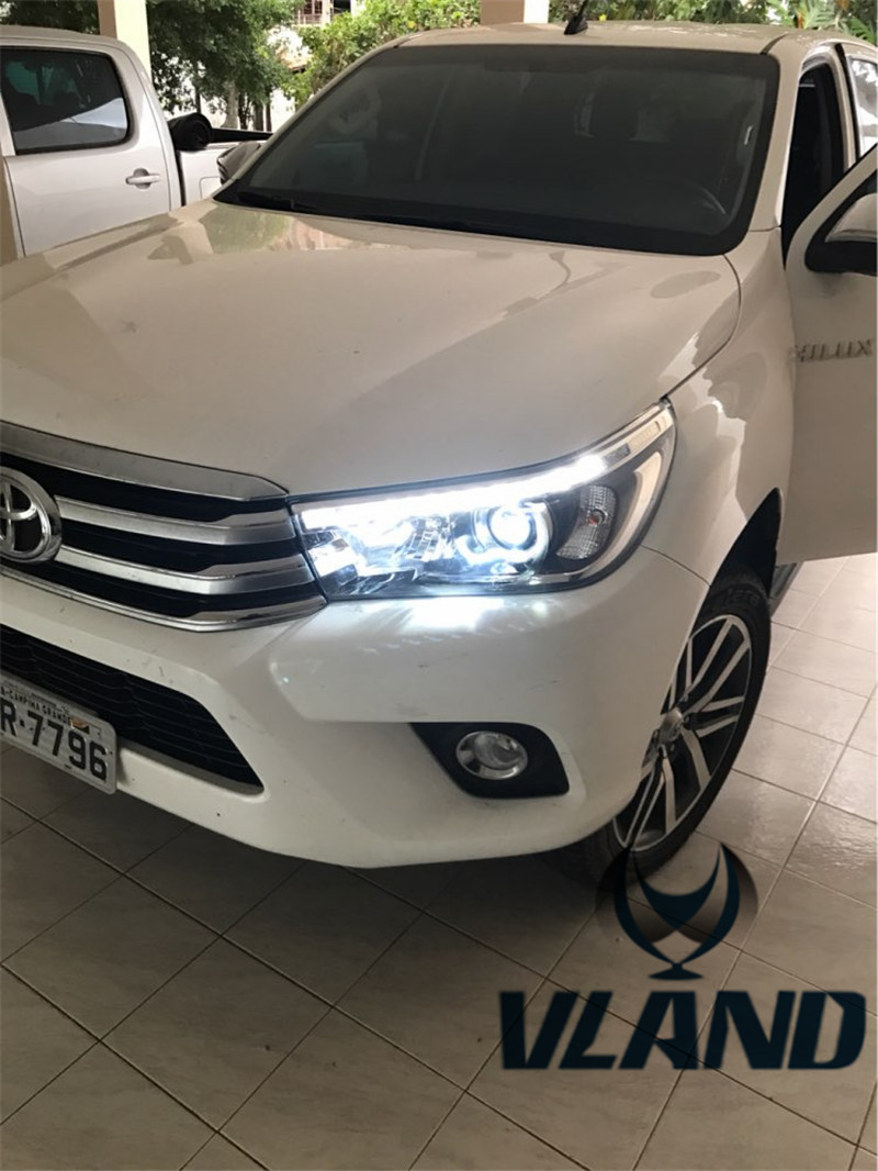 Free shipping for VLAND factory car Head lamp for Toyota Revo led headlight 2016 2017 Hilux LED headlight Vigo H7 Xenon lamp free shipping vland car lamp for toyota