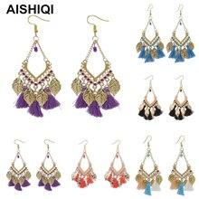 Fashion Punk Indian Bohemian BOHO Korean Kpop Leaf Tassel Eardrop Statement Dangle Earrings for Women