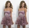 Sexy Sweetheart Vestidos De Festa Dusty Rose Organza Beaded Crystal Flowers Pleats Cocktail Dress Mi-Ni Party Gowns CX002