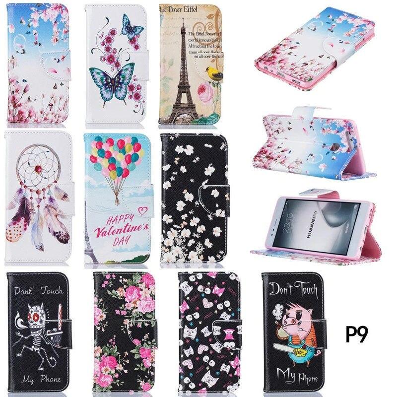 Lujo pu Funda de cuero para Huawei P9 funda Flip 5.2 pulgadas cartera funda  para fundas Huawei P9 teléfono bolso de la cubierta capa 46c38e86a874