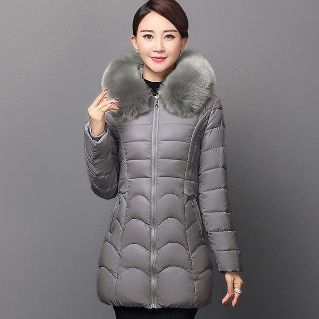 new middle-aged women down jacket long thick-skinned cotton Coat Fur collar winter coat
