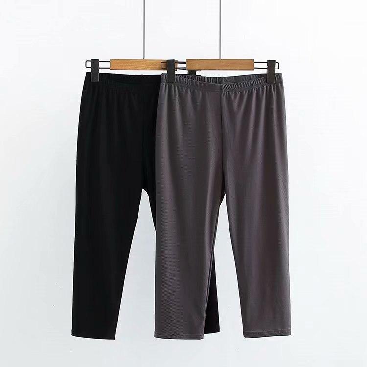 Women Clothing Leggings Spring Ice-Silk Plaid Slim Calf-Length Plus-Size Casual Fashion