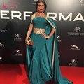 Árabe Dubai Vestidos De Noite da Cerceta com Ouro Apliques Até O Chão Kendall Jenner Sereia Celebridade Do Tapete Vermelho Vestido com Capa