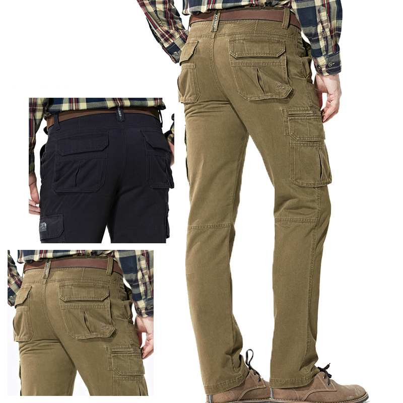 Big Size 30-44 Men's Outdoor Pants Cotton Breathable Multi Pockets Cargo Pants Men Combat Trekking Tactical Hiking Hunting Pans