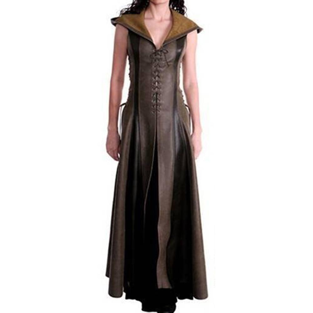 Для женщин в стиле панк длинное платье Лето Повседневное зеленый расширения с капюшоном без рукавов пуловер в стиле пэчворк на шнуровке мод...