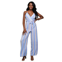 Women Spaghetti Strap Long Pant Jumpsuits Ladies Deep V-neck Stripe Print Rompers Ladies Party Sexy Jumpsuits femme HD207