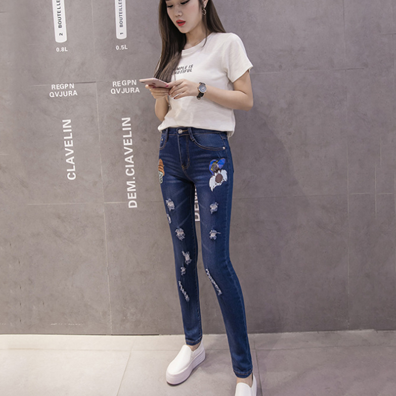 Korean Fashion Cartoon Print Jeans Woman Curvy Skinny Jeans Pants Plus Size Ripped Jeans For Women High Waist Denim Pencil pants image