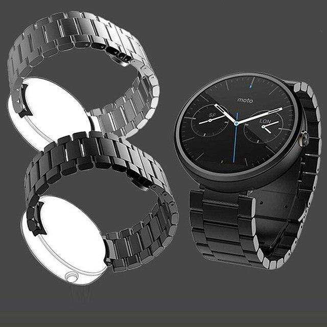 Nuevo excelente calidad de 22mm de acero inoxidable correa de repuesto para motorola moto 360 reloj inteligente con herramientas de reparación de relojes
