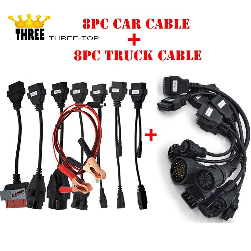 Prix pour 8 pc De Voiture Câble + 8 pc câble camion Outil De Diagnostic avec la chine poteau libre