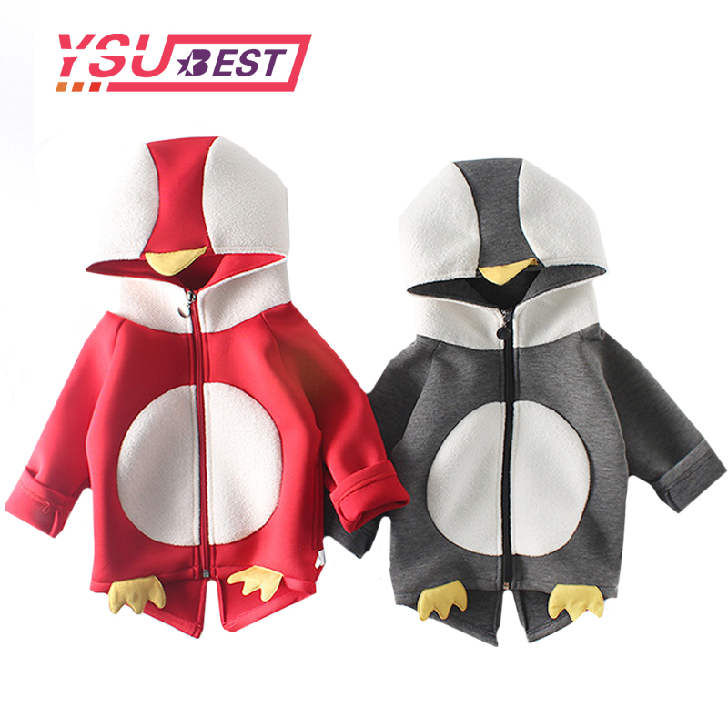 2018 Kids Penguin Coat Boys Warms Hoodies Girls Jacket Winter Children Clothing Girls Casual Sweatshirts Cartoon Boys Clothes