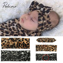 2019 Accessories Kids Girls Baby Toddler Leopard Turban Removable Knotted Bow Hat Cap Headband Hair Band Headwear Baby Kids Gift(China)