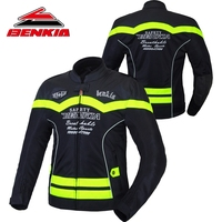 BENKIA Motorcycle Jacket Summer Breathable Jacket Motorcycle Racing Suit Mesh Ventilation Riding Leather Anti Fall Jacket