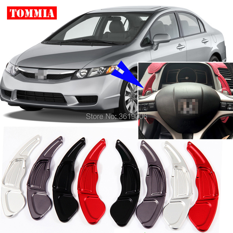 tommia 2pcs Steering Wheel Aluminum Shift Paddle Shifter Extension For Honda Civic 2009-2011 Car-styling aluminum alloy black steering wheel paddle shift extension for land rover range rover sport 2011 15