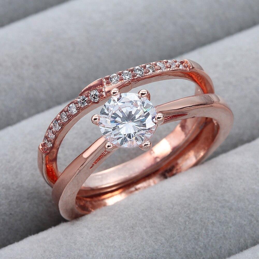 2017 модные цвета розового золота-цвет свадебные комплекты циркон кольца ювелирные изделия для женщин обручальное ювелирных изделий роскошн...