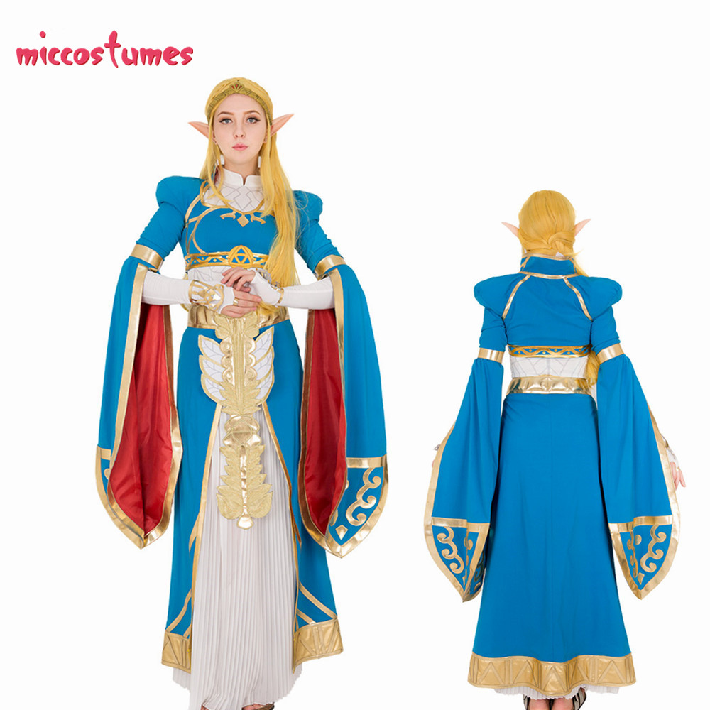 Exclusive The Legend Of Zelda Breath Of The Wild Princess Zelda Blue Long Dress Gown Cosplay Costume