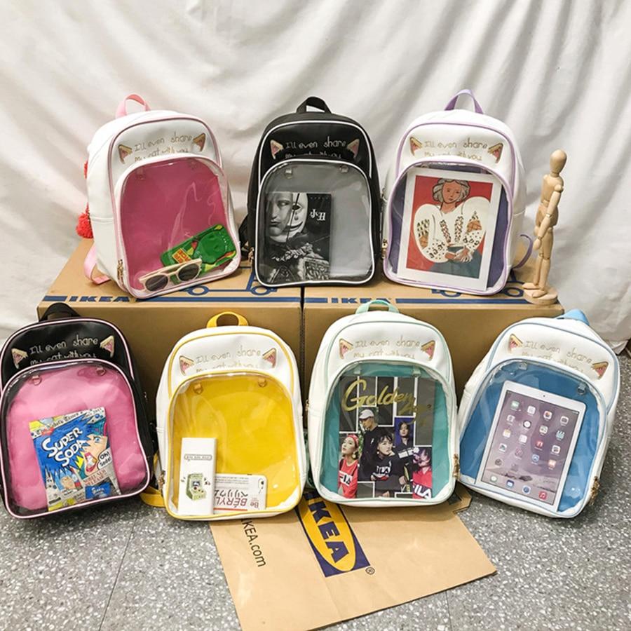 Clear PVC Transparent Cartoon Shoulder Backpack Women PU Letter Harajuku Rucksack For Teenage Girls Cute JK Itabag Mochila Mujer
