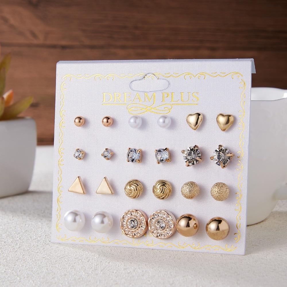 12 Pairs/set Stud Earrings Set With Card Transparent Zircon Balls Love Flowers Earrings Women Imulated Pearl Earrings Jewelry 19