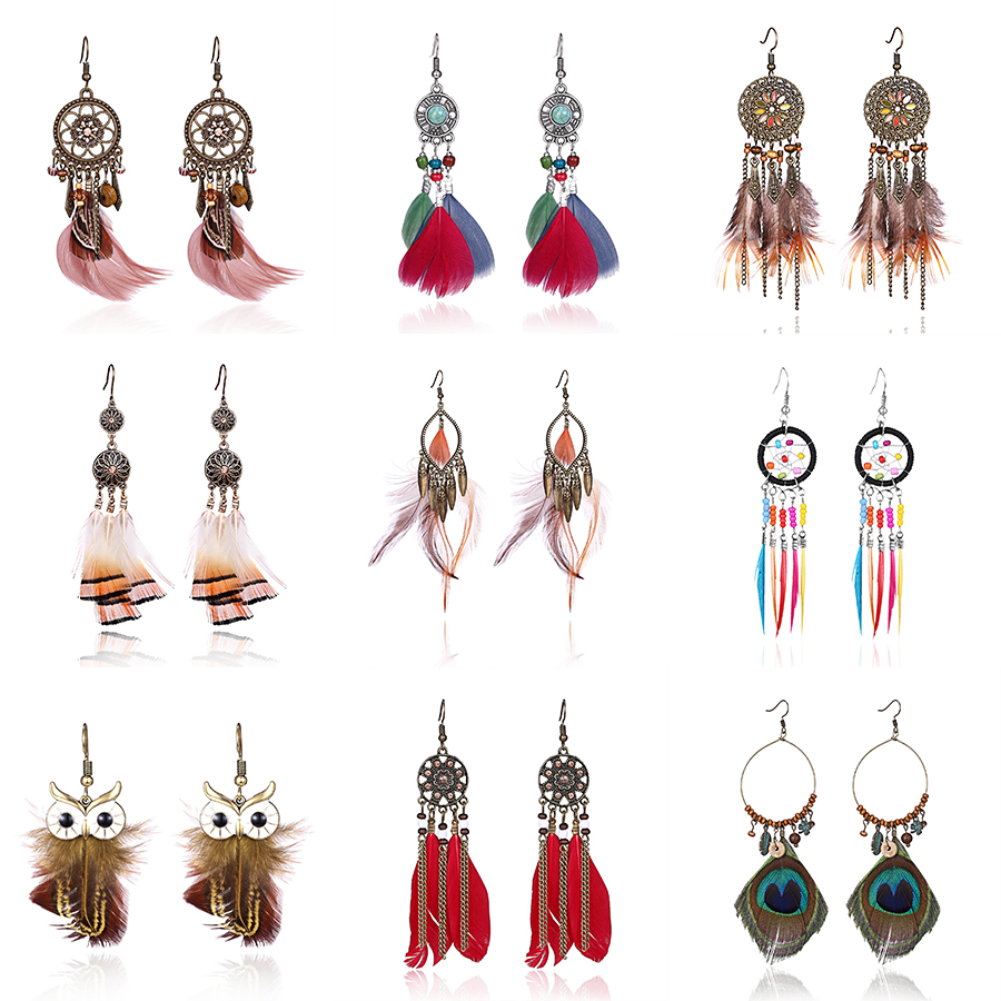 Belleper 2019 Long Tassel Fashion Feather Ethnic Boho Big Dangle Statement Earring Wedding Earrings Bride Accessories Wholesale