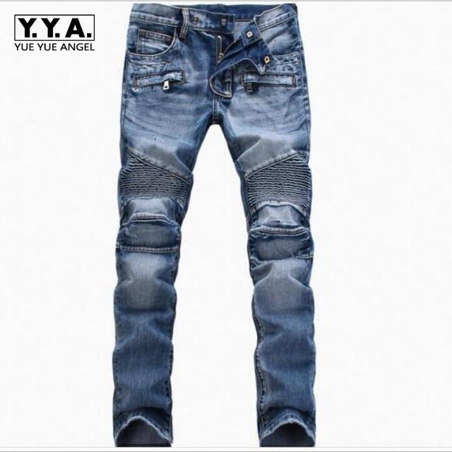 Top Brand Fashion Mens Slim Fit Denim Jeans Boys Slim Biker Pants Skinny  Straight Runway Elastic Jeans Trouser Blue Size 28--42 6c6861017