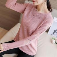 Zuolunouba Winter Clothing Office Lady O neck Pink Pullovers Embroidery Floral Harajuku Hollow Long Sleeve Knitted Women Sweater