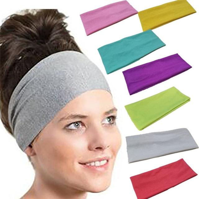 b3679fdb72bc 2018 Women Ladies Pure color Sweatband Gym Stretch Headband Hair Band Head  Warp Hair Band Wide Elastic Headband Sport Yoga  M23