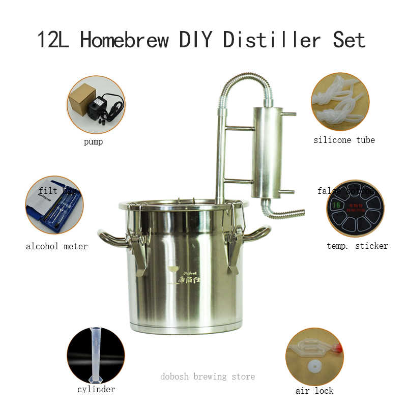 12L Moonshine Homebrew Distiller Beer Whisky Distilling Alcohol Wine Yeast Distillator for Home Brewing Used Wine Maker