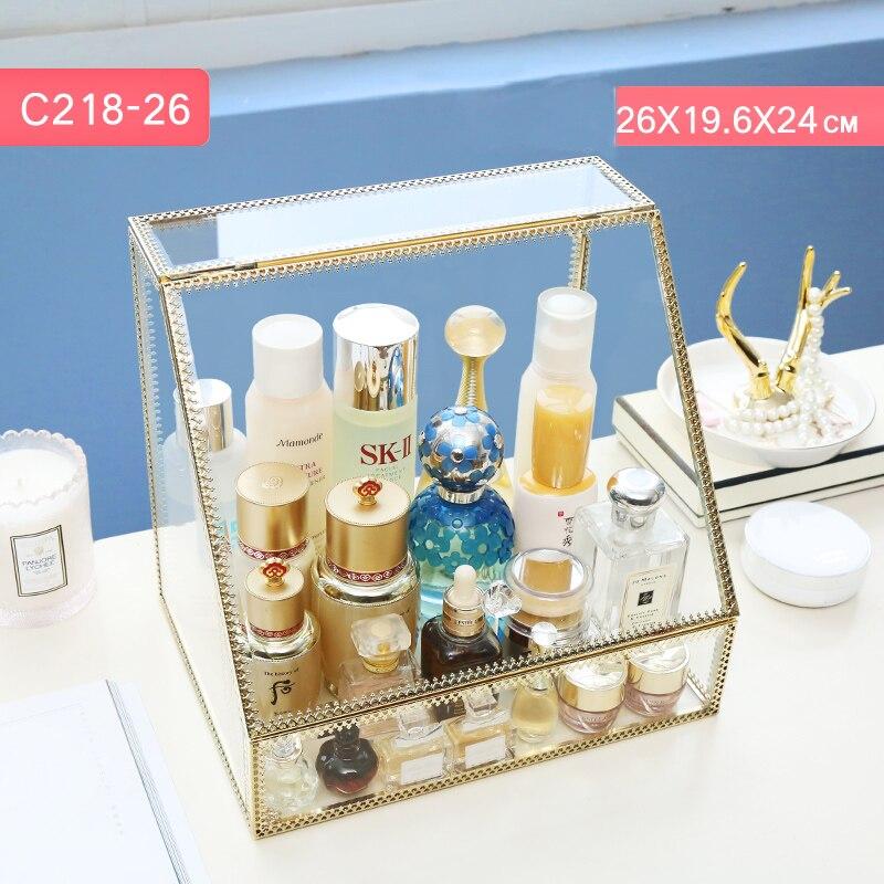 Grand or herbe maquillage organisateur tiroir boîte de rangement en métal or verre maquillage cosmétique tiroir boîte avec couvercle C218