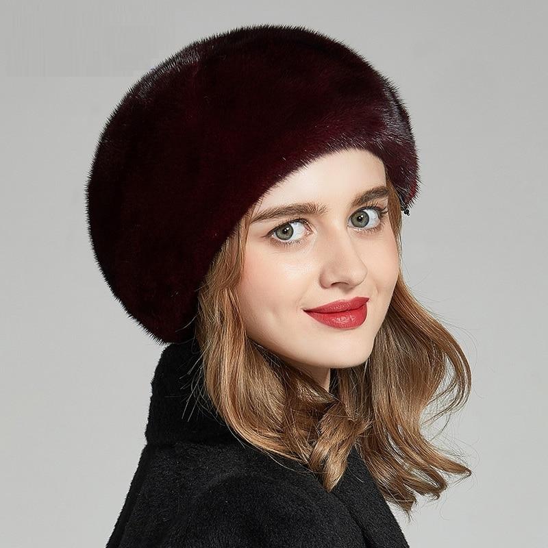 Зимняя Новая модная женская шапка, высококачественный норковый Меховой берет femme шапки, теплая меховая шапка женские зимние шапки 18604