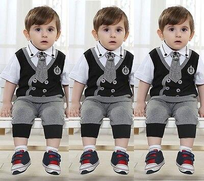 d1691ff79294 3pcs Baby Boys Kids Tie Suit Party Wear T-Shirt Waistcoat Shorts Pants  Outfits