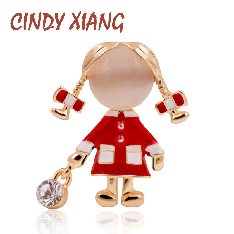 CINDY XIANG Small Cute Girl Brooches for Women Opal and Rhinestone Brooch Pin Silver Color Dress Coat Accessories Fashion Gift