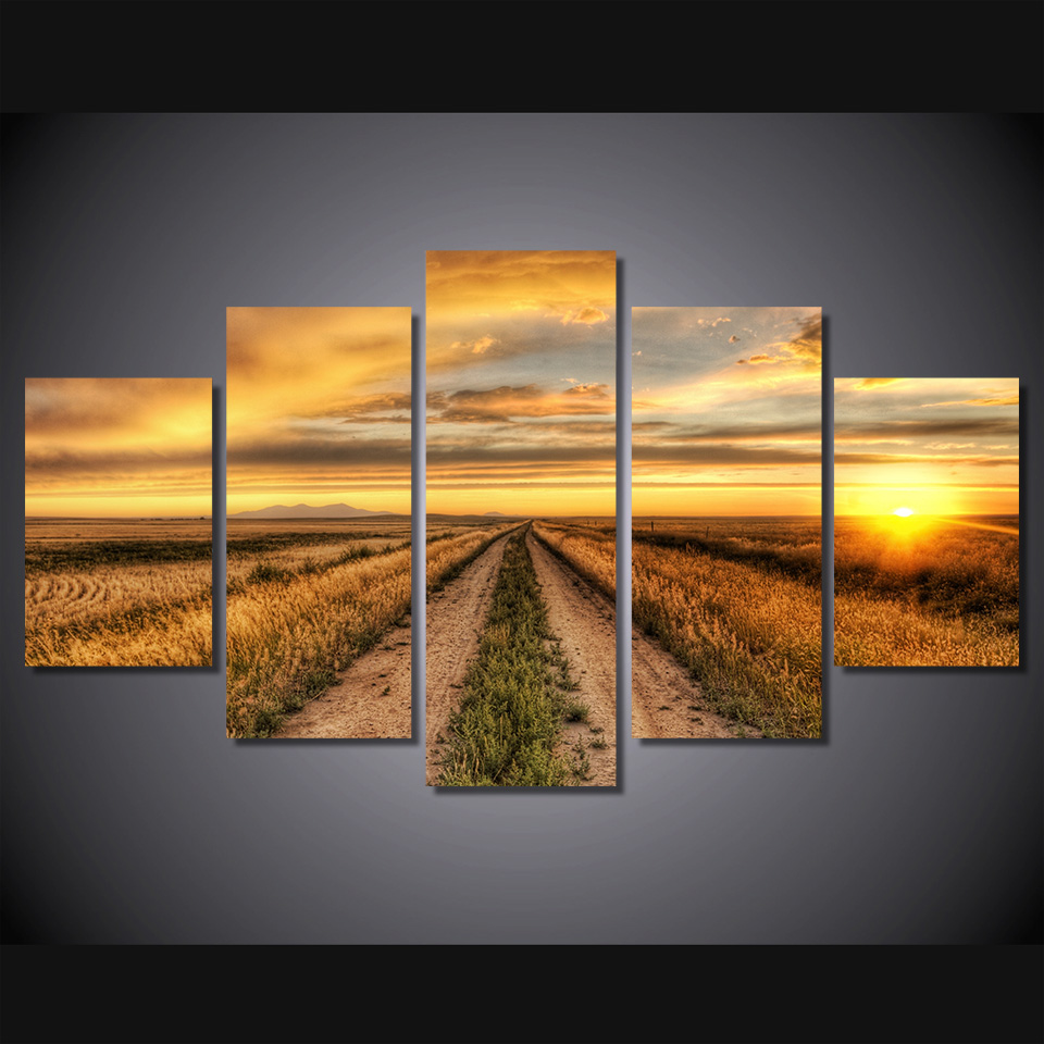 Online Shop 5 Pcs/Set Framed HD Printed Sunset Country Road Picture ...