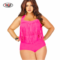 Sea Girl Trangel Plus Size Bikini Vintage Long Line Tassel Fringe Women High Waist Swimsuit Wear