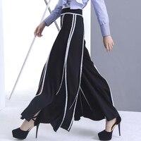 Europejski styl modny biały stronie luźne nogawki spódnica hem otwórz widelec spokojnie rozrywka