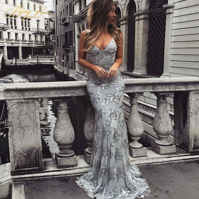 BeryLove Sparkly Mermaid Grey Lace Evening Dress 2019 Long Sequined Backless V Prom Women Straps Formal Party Gowns For Prom