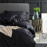 Solid Color Bedding sets Luxury Egyptian cotton Duvet cover King Queen size 4Pcs Black/White Bedclothes Bed sheet Pillowcases