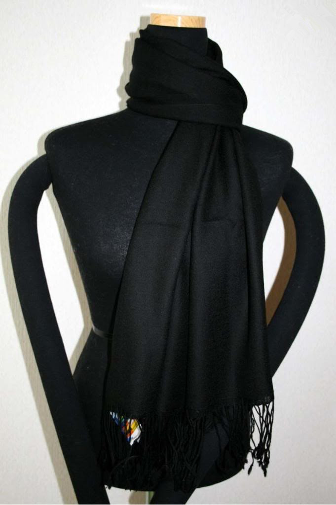 Free Shipping Black Chinese Women's Silk Pashmina Shawl   Scarves     Wrap   WS-121