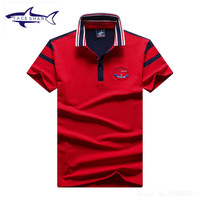 New Fashion Tace Shark Polo Shirt Men Brand Summer Solid Color Cotton Top Quality Slim Fit