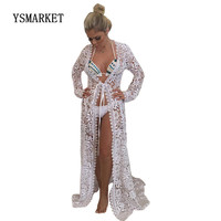 2018 Summer Beach Sun Protection Bikini Cover Up Lace Floral Pattern Embroidery Long Sleeve Long Cover