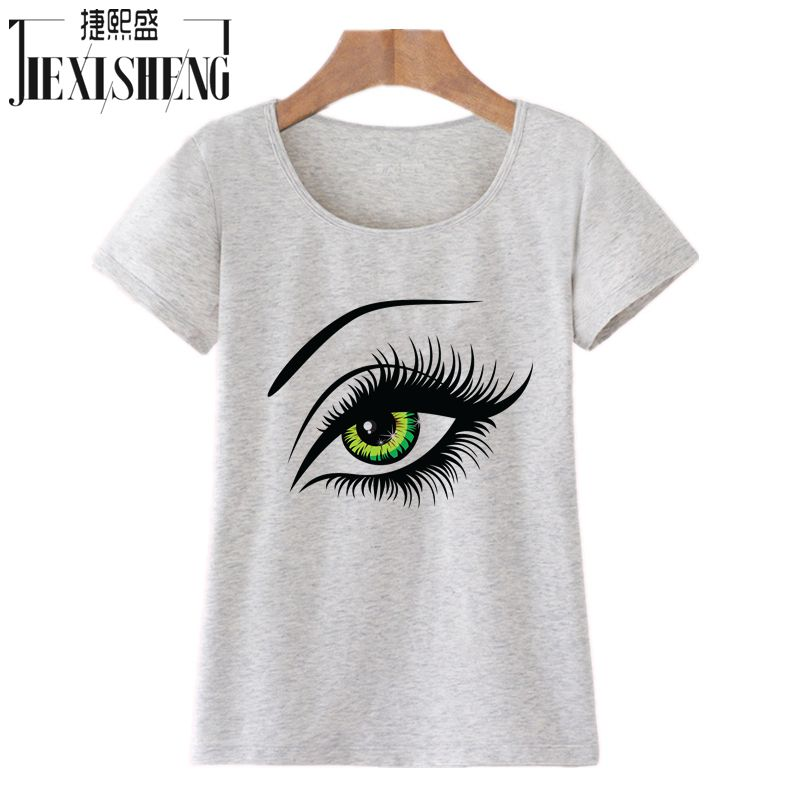 2016 Summer T Shirt Women Tops Tees Short Sleeve Cotton Big Eyes Print Tshirt Funny T