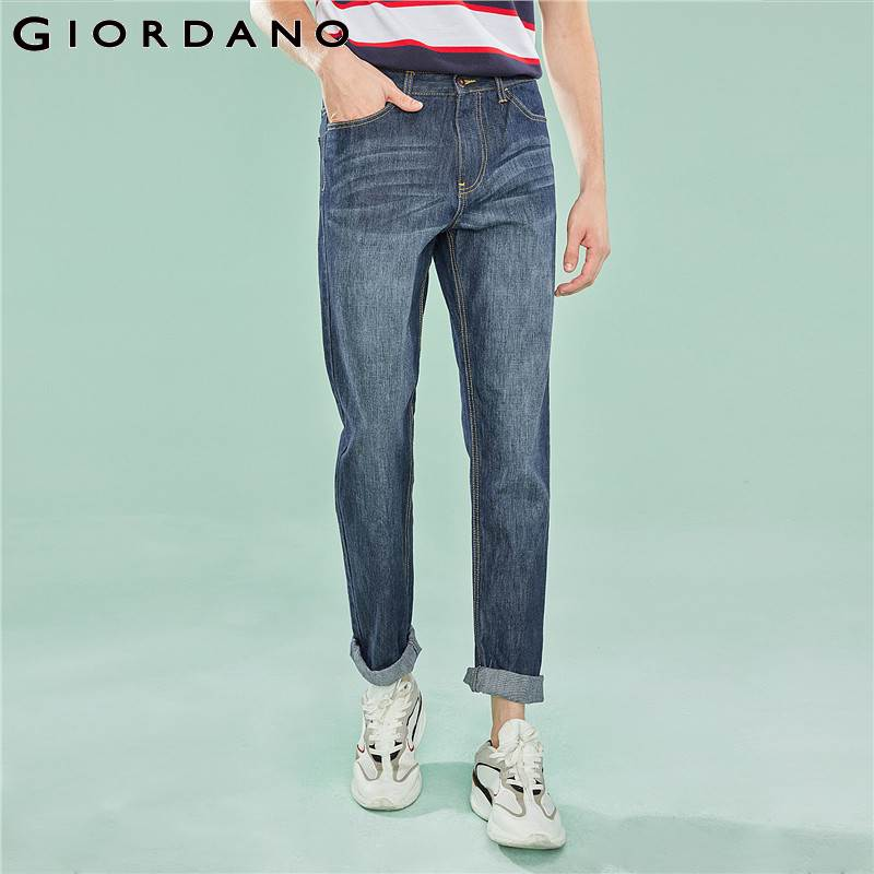 Giordano Men Brand   Jeans   Fashion Casual Male Denim Pants Cotton Classic Tapered   Jeans   Masculina Mid Rise Denim Trousers