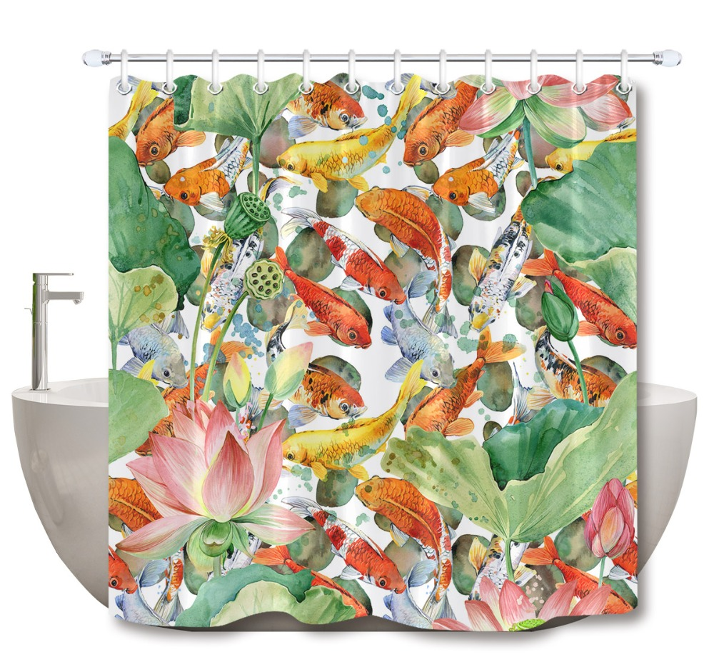 Detail Feedback Questions About LB Carp Koi And Flower Lotus Artistic Shower Curtains Bathroom Curtain Watercolor Pond Fish Waterproof Fabric For Bathtub