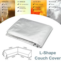 Waterproof L Shape Corner Sofa Couch Cover Outdoor Sectional Furniture Protection Dust Cover Silver Patio Garden Canopy Shelter