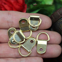 Half Round Ring Hanging Picture Oil Painting Mirror Frame Mini Hooks Hangers With Screws,Yellow Color,25*10mm,50Pcs(China)